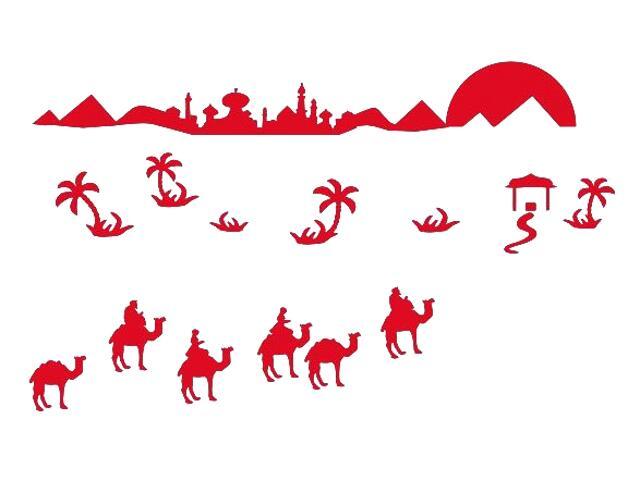 Naklejka dekoracyjna welurowa wielbłądy 673066-6 Klimaty Domu