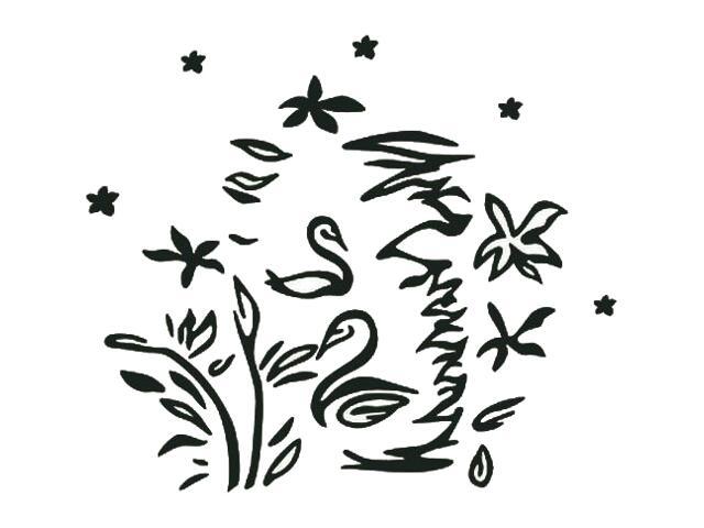 Naklejka dekoracyjna welurowa łabędzie 671044-7 Klimaty Domu