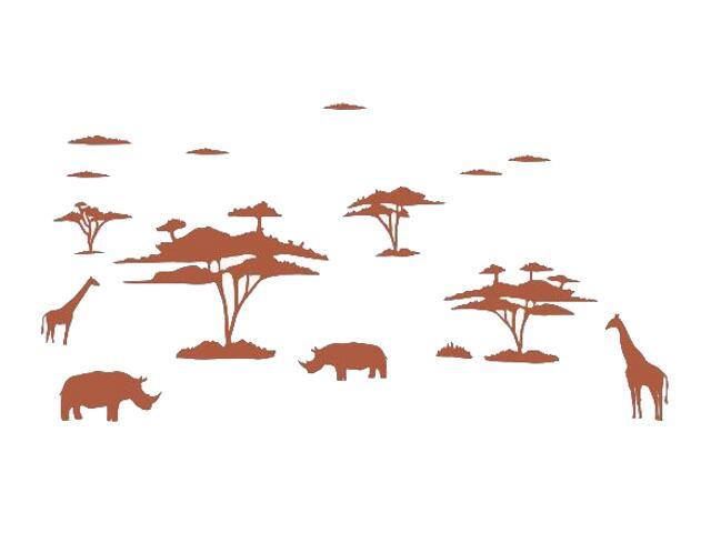 Naklejka dekoracyjna welurowa afrykańskie zwierzęta 673004-2 Klimaty Domu
