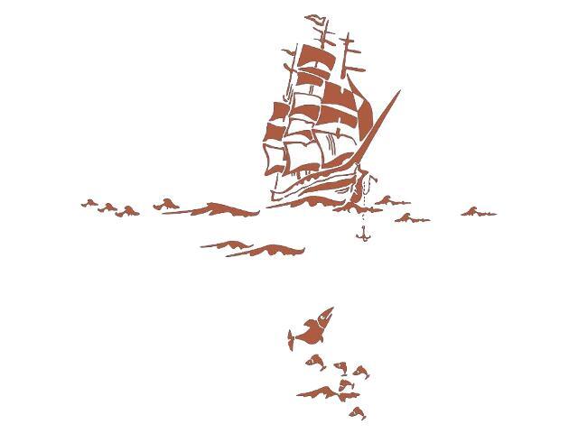 Naklejka dekoracyjna welurowa statek 679055-2 Klimaty Domu