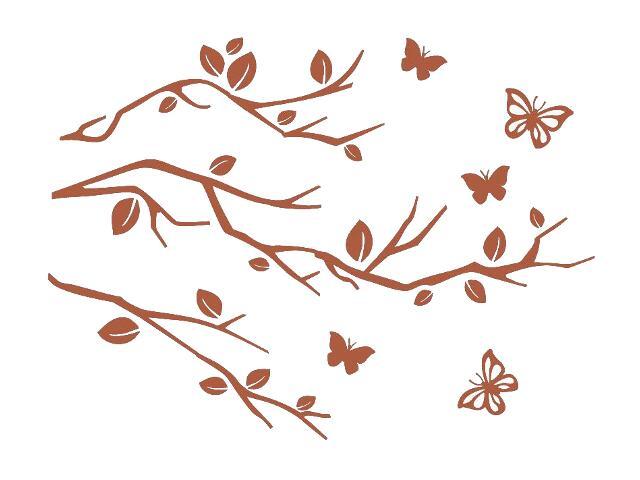 Naklejka dekoracyjna welurowa gałązki 678107-2 Klimaty Domu