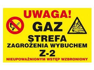 """Znak informacyjny """"Uwaga gaz strefa zagrożenia wybuchem"""" Z-34G-P rozm. 250x350 ANRO"""