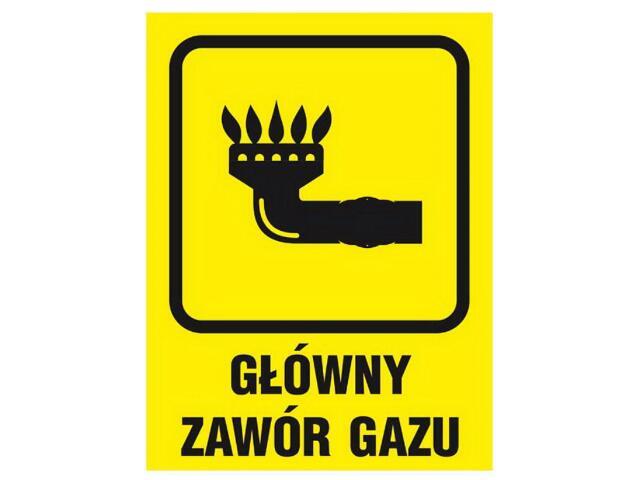 """Znak informacyjny """"Główny zawór gazu"""" Z-36G-F rozm. 150x205 ANRO"""