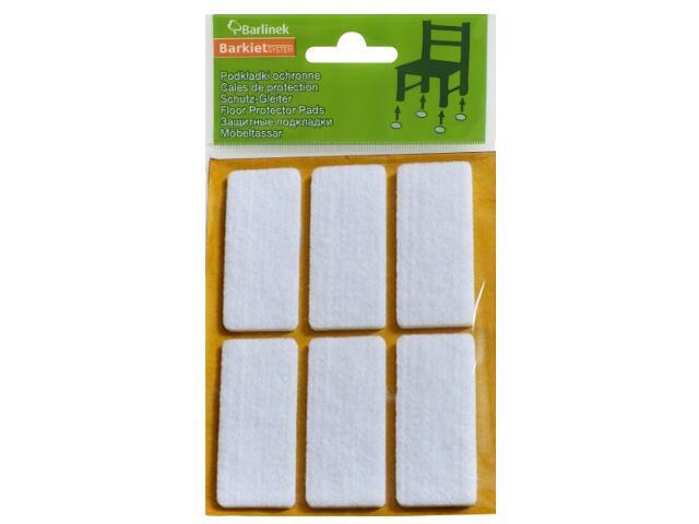 Podkładki filcowe białe 60x25 mm prostokątne 6 szt. Barlinek