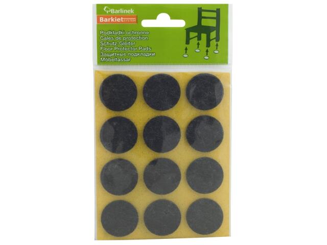Podkładki filcowe czarne fi 28 mm okrągłe 12 szt. Barlinek