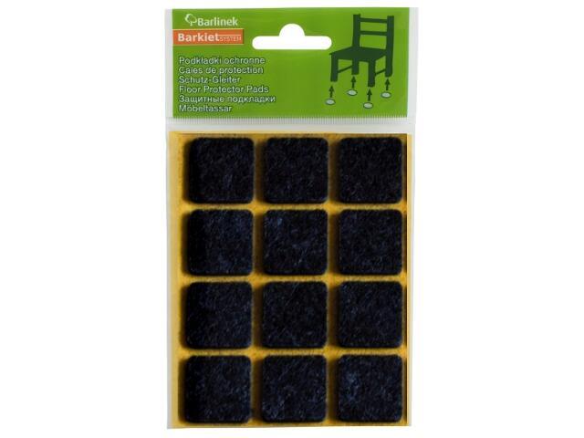 Podkładki filcowe czarne 28x28 mm kwadratowe 12 szt. Barlinek