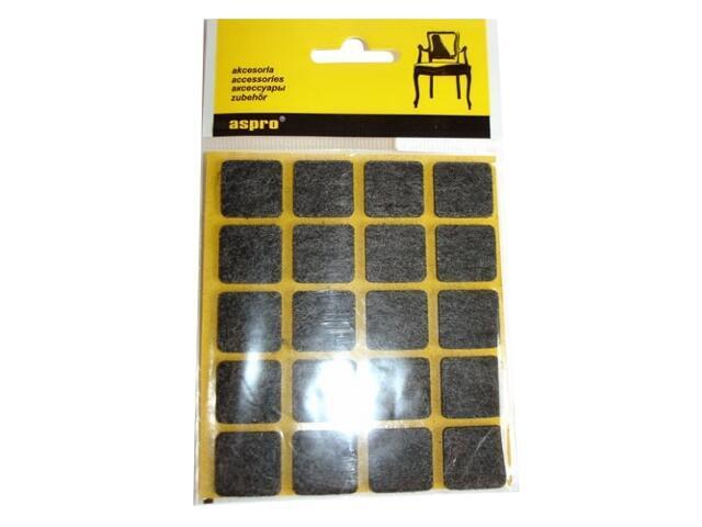 Podkładki filcowe czarne (20x20) - 20szt A-40002-03-020 Aspro