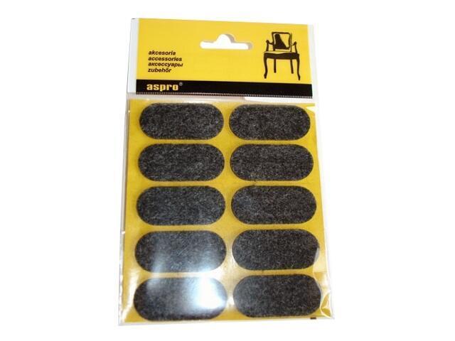 Podkładki filcowe czarne (20x44) - 10szt A-40002-06-010 Aspro