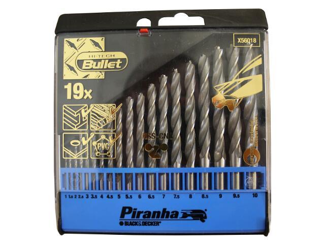 Zestaw wierteł do metalu komplet 19szt. HSS-CNC X56018 Piranha