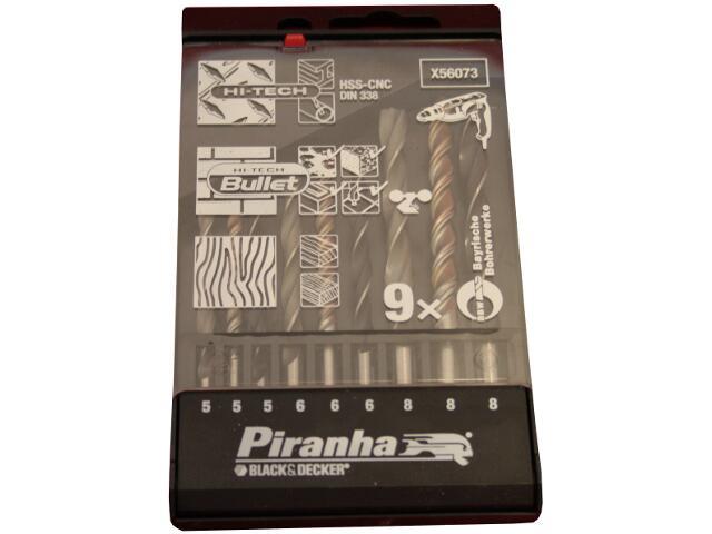 Zestaw wierteł mieszanych komplet 9szt. X56073 Piranha
