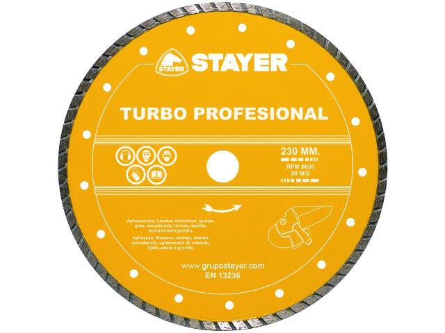 Diamentowa tarcza tnąca Turbo Profesional 230x22,2mm Stayer