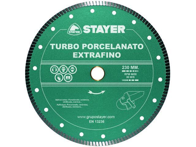Diamentowa tarcza tnąca Turbo Extrafino Porcel. 230x22,2/25,4mm Stayer