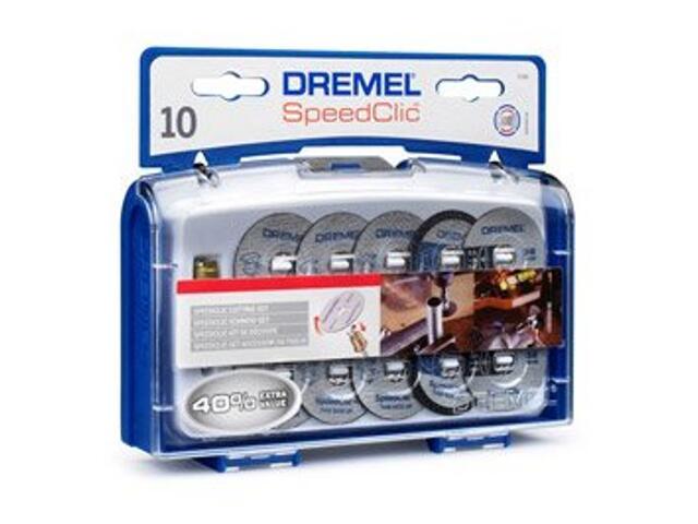 Zestaw tarcz tnących speedclic-10szt.+trzpień Dremel