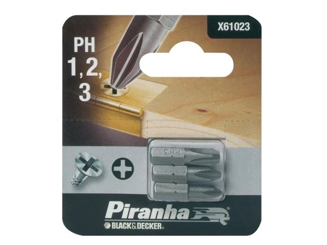 Końcówka wkrętakowa Ph1,2,3/25 3szt. Piranha