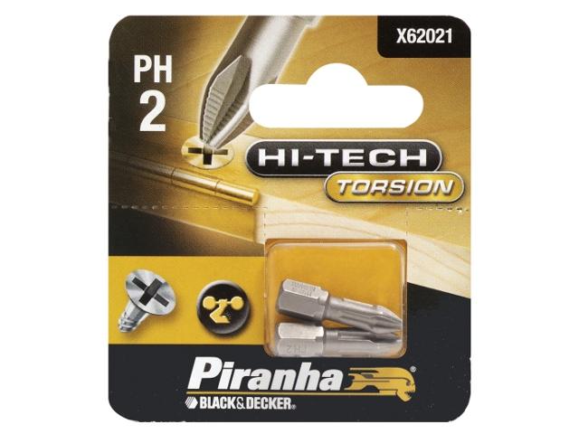 Końcówka wkrętakowa Ph2/25 2szt. HI-TECH TORSION Piranha
