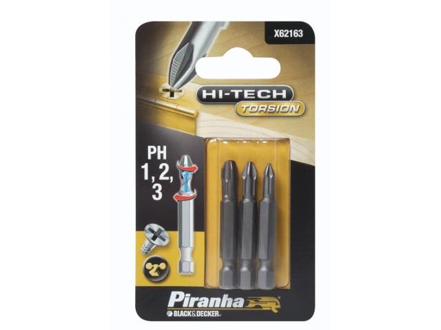 Końcówka wkrętakowa Ph1,2,3/50 3szt. HI-TECH TORSION Piranha