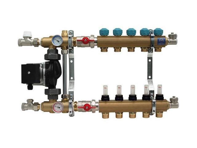 """Rozdzielacz 1"""" 4 obwody z układem mieszającym i przepływomierzami (seria 77A) 7704A Kan"""