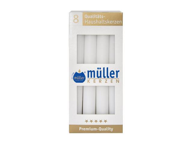 Świeca świecznikowa kpl 8szt kolor biały Muller