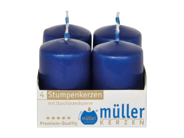 Świeca walec 62x40mm kpl 4szt kolor indigo Muller