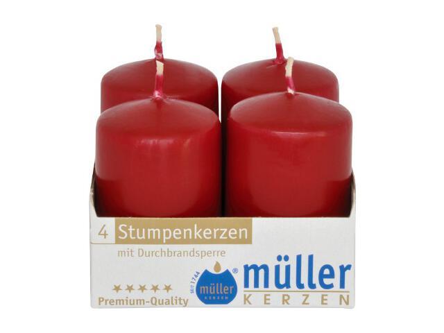 Świeca walec 62x40mm kpl 4szt kolor wina Muller