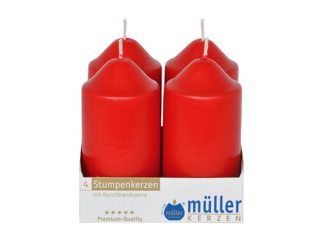 Świeca walec 100x50mm kpl 4szt kolor karminowy Muller