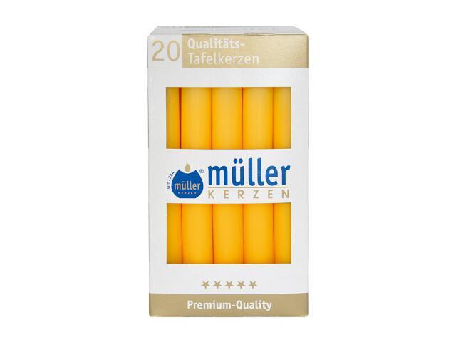 Świeca świecznikowa kpl 20szt kolor żółty Muller