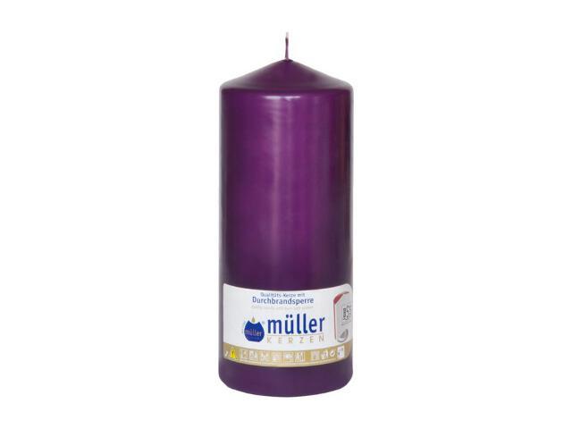 Świeca walec 180x70mm kolor fioletowy Muller