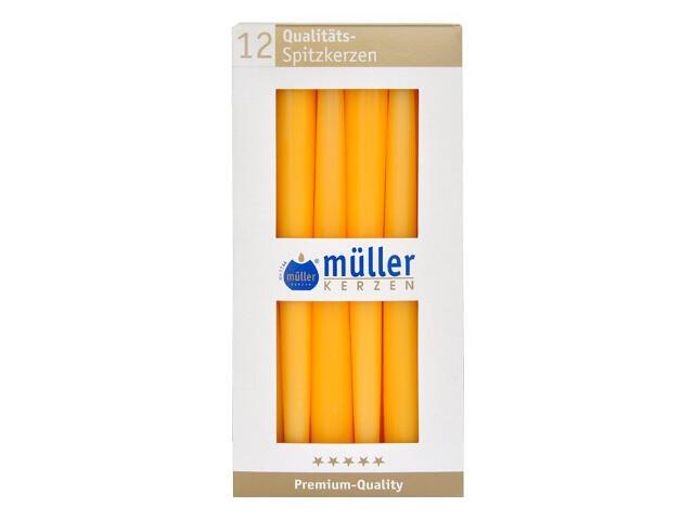 Świeca świecznikowa 245mm kpl 12szt kolor żółty Muller