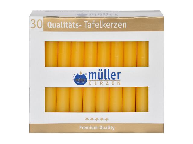 Świeca świecznikowa kpl 30szt kolor żółty Muller