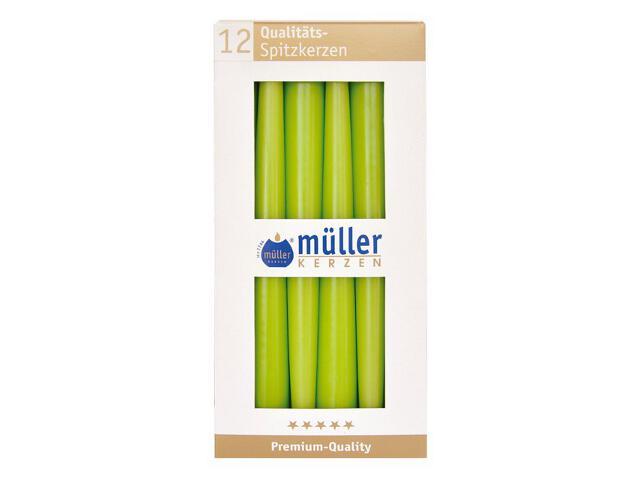 Świeca świecznikowa 245mm kpl 12szt kolor majowa zieleń Muller