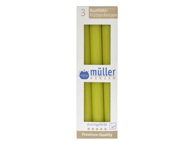 Świeca świecznikowa 250mm kpl 3szt kolor majowa zieleń Muller