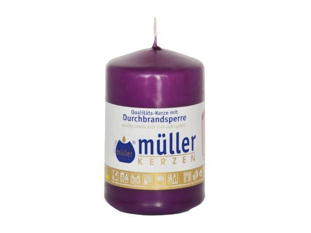 Świeca walec 90x55mm kolor fioletowy Muller