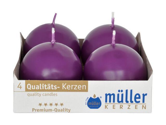 Świeca kula 60mm kpl 4szt kolor fioletowy Muller
