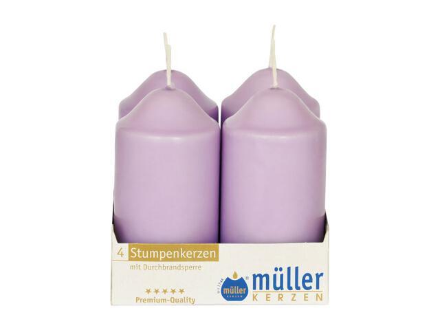 Świeca walec 100x50mm kpl 4szt kolor bzu Muller