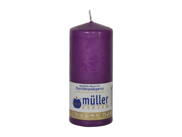 Świeca walec 130x55mm kolor fioletowy Muller