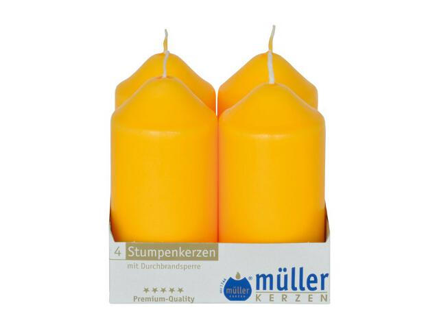 Świeca walec 100x50mm kpl 4szt kolor żółty Muller