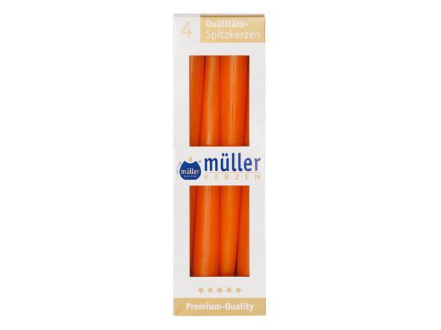 Świeca świecznikowa 245mm kpl 4szt kolor mandarynka Muller