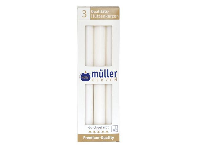 Świeca świecznikowa 250mm kpl 3szt kolor biały Muller