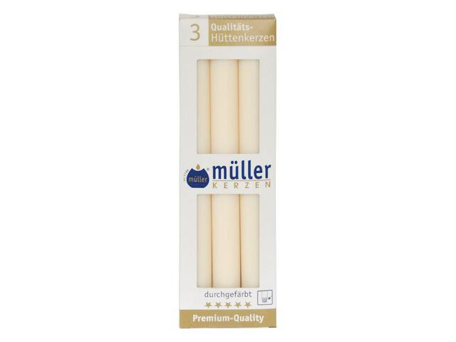 Świeca świecznikowa 250mm kpl 3szt kolor waniliowy Muller