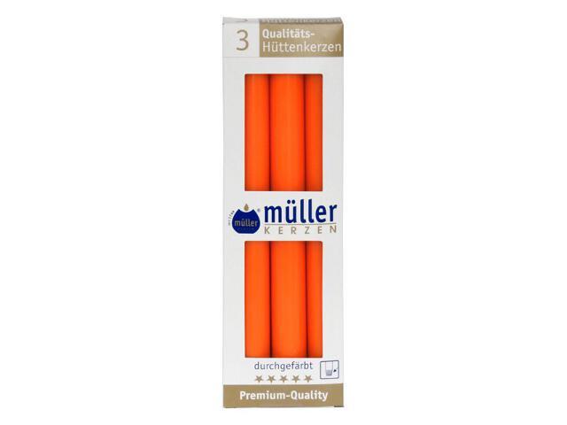 Świeca świecznikowa 250mm kpl 3szt kolor mandarynka Muller