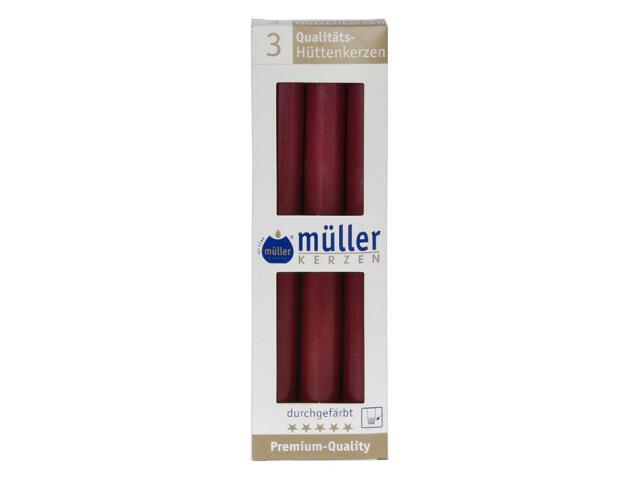 Świeca świecznikowa 250mm kpl 3szt kolor wina Muller