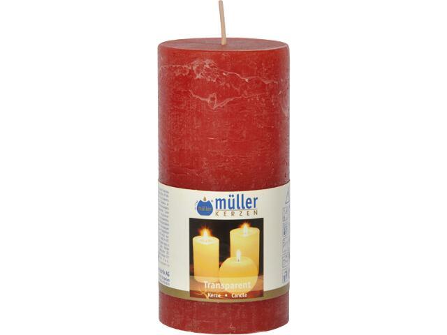 Świeca walec polarowy 125x58mm kolor czerwony Muller