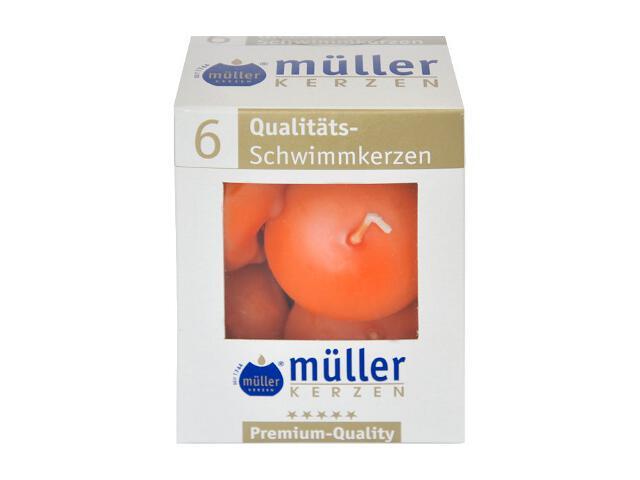 Świece pływające kpl 6szt kolor mandarynka Muller