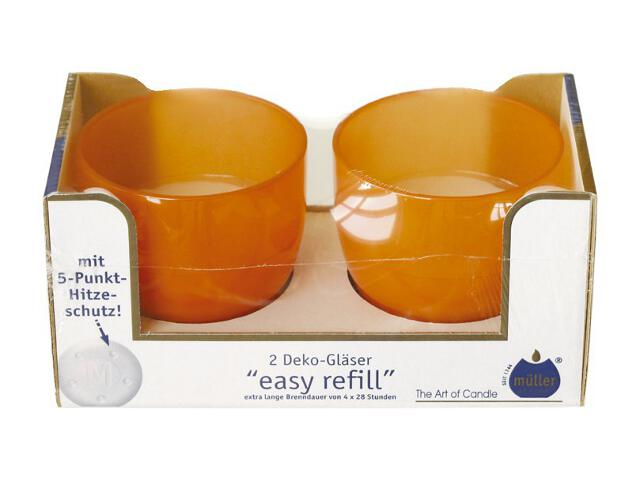 Świeca w szkle Easy Refill kpl 2szt kolor pomarańczowy Muller