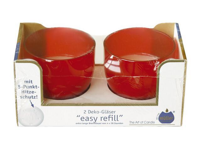 Świeca w szkle Easy Refill kpl 2szt kolor czerwony Muller