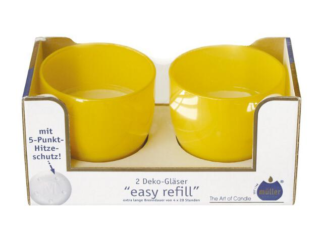 Świeca w szkle Easy Refill kpl 2szt kolor żółty Muller
