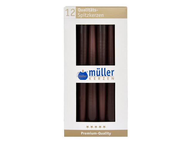 Świeca świecznikowa 245mm kpl 12szt kolor schoko Muller
