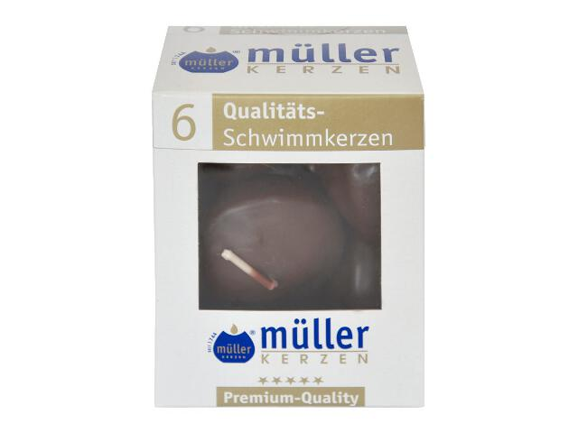 Świece pływające kpl 6szt kolor schoko Muller