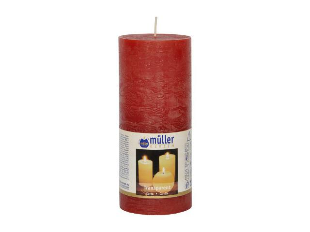 Świeca walec polarowy 160x68mm kolor czerwony Muller