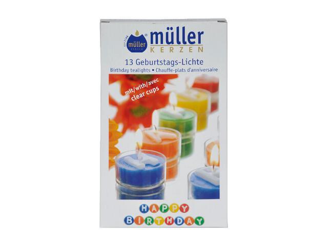 Podgrzewacze urodzinowe Happy Birthday 13szt kolorowe Muller
